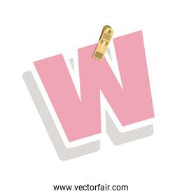 Clothespin holding relive letter w