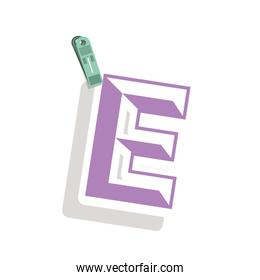 Clothespin holding relive letter e in shade