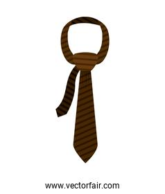 brown tie with knot and striped