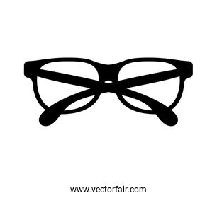 black silhouette graphic with oval glasses lens