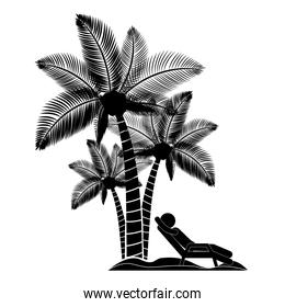 person beach chair with palm trees