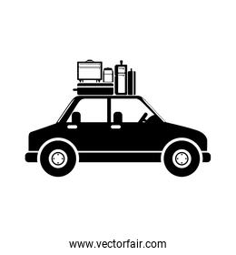 black silhouette car with baggage