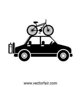 silhouette transporting bicycle and baggage