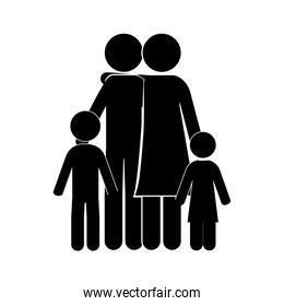 black silhouette of family embracing