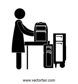 black silhouette woman with baggage