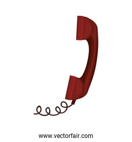 red antique telephone with cord