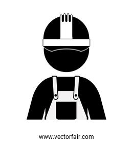 black silhouette worker with overall and helmet