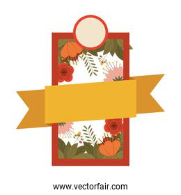 silhouette heraldic emblem with flowers and label