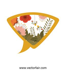 yellow silhouette dialog with flowers