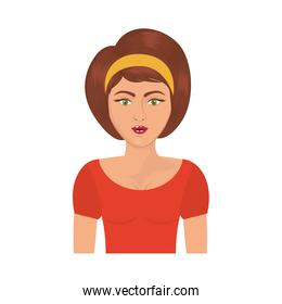 half body woman with headband and short brown hair