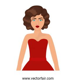 half body woman with red prom dress and eighties hairstyle