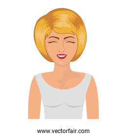 half body blonde woman with white blouse