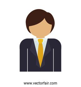 half body man with formal suit and necktie