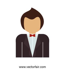 half body man with formal suit and bowtie