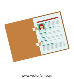 folder with woman curriculum vitae
