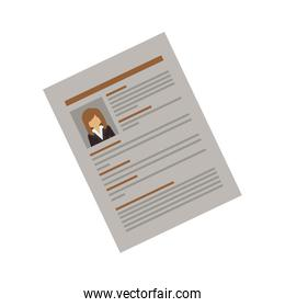 side document with woman curriculum vitae