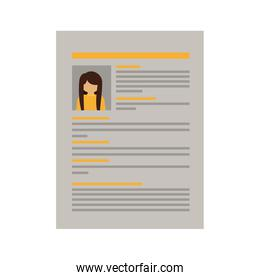 document with woman curriculum vitae