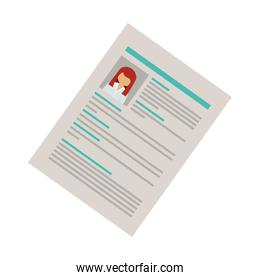 right side document with woman curriculum vitae