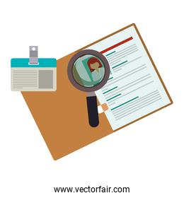 curriculum vitae with id card and magnifying glass