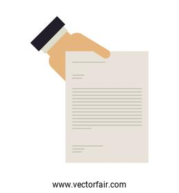 hand holding a document with text
