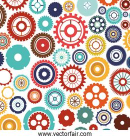 pattern with multiple colorful gears