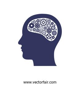 silhouette of head with gear in the brain