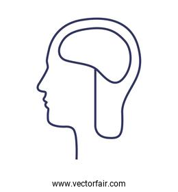 silhouette side head with brain