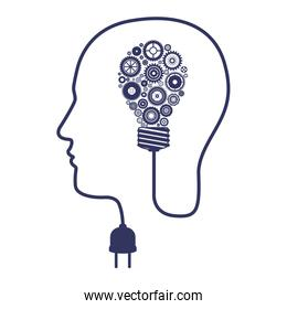 silhouette of head with brainbulb and gears