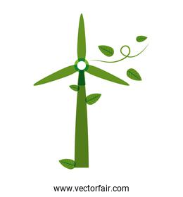 green silhouette wind power generator with leaves