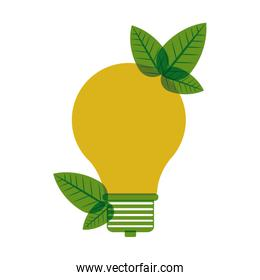 yellow light bulb with leaves