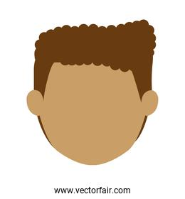 head man with curly hair without face
