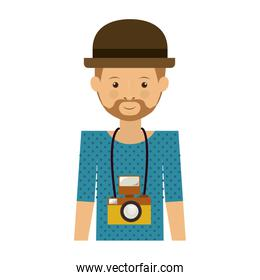hipster man with photographic camera