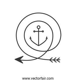 silhouette with arrow in shape circular and anchor