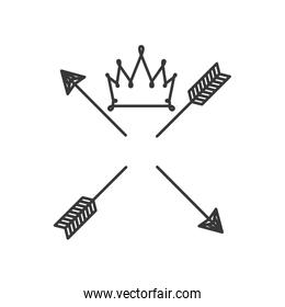 silhouette with crown over arrows