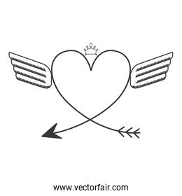 silhouette with two wings heart and crown