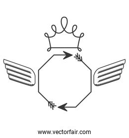silhouette with octagon arrows and wings and crown
