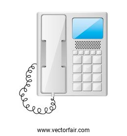 gray office telephone with wired