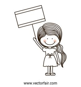 silhouette girl holding poster with ponytail