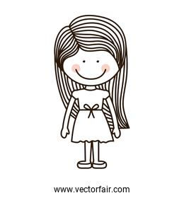 silhouette girl standing with dress and striped hair