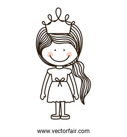silhouette girl standing with crown and ponytail