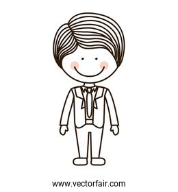 silhouette boy with formal suit and tie