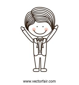 silhouette boy with open arms and formal suit