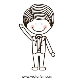 silhouette boy with raised hand and formal suit