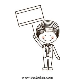 silhouette boy holding poster with formal suit