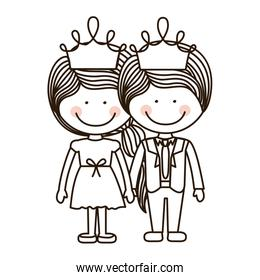 silhouette girl and boy standing with crown
