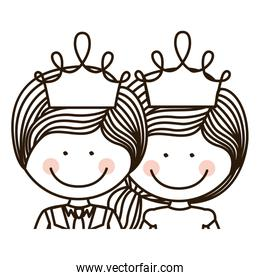 silhouette half body girl and boy with crown