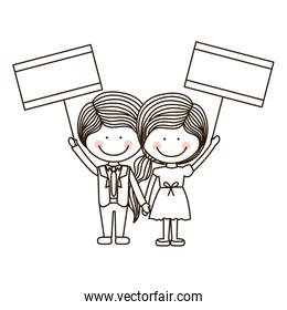 silhouette couple kids boy holding poster