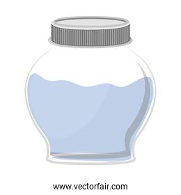 silhouette circular glass container with water