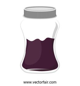 silhouette jar of violet jam with lid