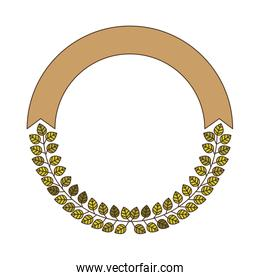 decorative circular frame with green leaves